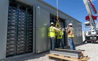 Battery racks going in Manatee Energy Storage Center in Florida. Image: Florida Power & Light.