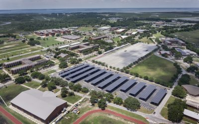 Aerial view of a US military facility that Ameresco fitted out with renewable energy, storage and energy efficiency solutions. Image: Ameresco.