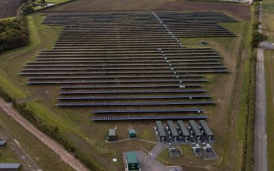 Clayhill, the UK's first subsidy-free solar farm, which Anesco built with colocated battery storage, before selling on in August last year. Image: Anesco.