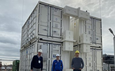 BASF and BASF New Business team members at the completed installation of four containerised NGK NAS battery storage units in Antwerp, Belgium. Image: BASF New Business.