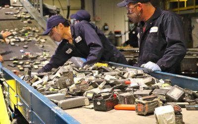 Lithium-ion batteries are shredded as part of the first step in Li-Cycle's recycling process. Image: Li-Cycle.