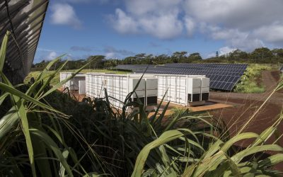 June 18, 2019 - AES Lawai Solar Project- Kauai. The solar array won 2019 Best Storage Application of the Year for the world's largest battery plant paired with solar generation. The project consists of a 28 MW PV and 100MWh Battery Energy Storage System (BESS). This type of power plant produces cheap, clean energy and uses batteries to deliver power when it is most valuable, instead of just when the sun shines. Recently partnered with NREL on  a distributed grid energy project, this 1.1 acre, 250kW DC pilot scale PV array and battery storage plant will aid in meeting Hawaii's legislative mandate of 100 percent renewables by 2045, though, it requires more power delivery than just midday solar abundance.  (Photo by Dennis Schroeder / NREL)