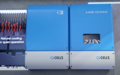 Q CELLS home battery storage systems at a European trade event in 2019. Image: Solar Media.