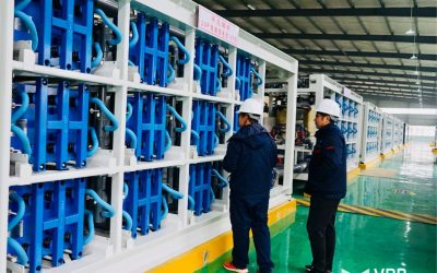 Flow battery cell stacks at VRB Energy's demonstration project in Hubei, China. Image: VRB Energy.
