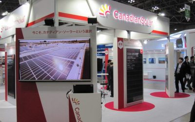 Canadian Solar booth at a trade show hosted in Tokyo, Japan. Image: Andy Colthorpe / Solar Media.