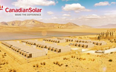 Rendering of Recurrent Energy's Slate solar-plus-storage facility which is currently under construction, also in California. Image: Canadian Solar / Recurrent Energy.