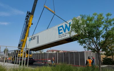 An ESS Inc Energy Warehouse being lowered into place. Image: ESS Inc via Twitter.
