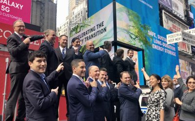 ESS Inc staff and leadership at Times Square, New York. ESS Inc later rang the opening bell as trading commenced. Image: ESS Inc via Twitter.