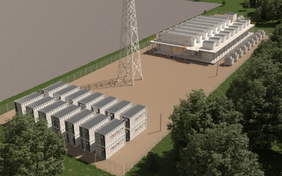 Invinity Energy Systems' vanadium flow batteries are being installed in a hybrid with grid-scale lithium at the Oxford Energy Superhub project. Image: Invinity.