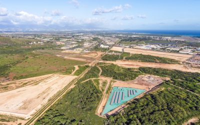 Rendering of a 565MWh three-hour duration standalone BESS on the Hawaiian island of Oahu, selected through a Hawaiian Electric procurement last year. Image: Plus Power.