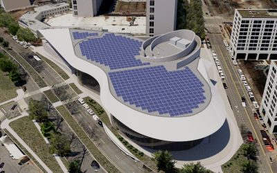 Solar installed by PowerFlex on the roof of Arena Stage, a theatre in Washington DC. Image: PowerFlex.