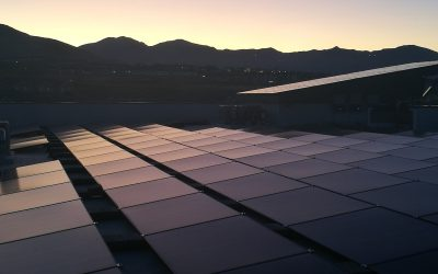 Rooftop solar modules at Soliel Lofts, the Utah VPP project sonnen previously worked on with Rocky Mountain Power. Image: Andy Colthorpe / Solar Media.