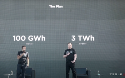 Elon Musk (right) and Drew Baglino (left) had suggested a shift to LFP cells for many of Tesla's standard range EVs at last year's Battery Day. Image: Tesla Battery Day presentation screenshot via YouTube.