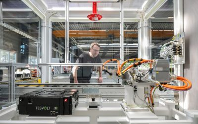 Tesvolt opened its 255MWh per annum production plant, which can be scaled up to 1GWh with demand, in April 2020. Image: Tesvolt.