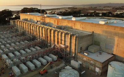 Battery storage housed in repurposed gas turbine halls at Moss Landing Energy Storage Facility Phase II, which has remained online. Image: Vistra Energy.