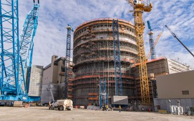 The only nuclear generating units under construction at the moment in the US, Vogtle Units 3 (pictured) and 4, are in Georgia Power service territory. Image: Georgia Power.
