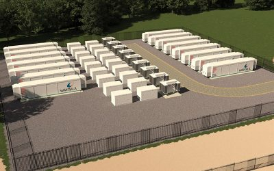 Rendering of a 50MW battery storage site in Kemsley, England, which will be connected to the high voltage transmission network. Image: Wartsila / Pivot Power.