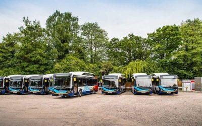 A fleet of buses Zenobe electrified in the UK. Image: Zenobe Energy.